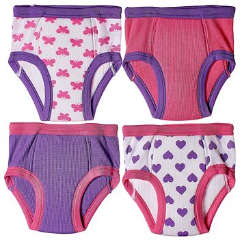 4-Pack Little Girls  Waffle Cotton Bows & Hearts Training Pants