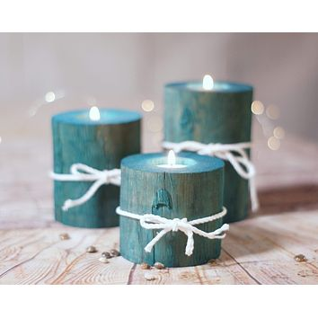 Log Candle Holders, Set of 3 Aqua Blue