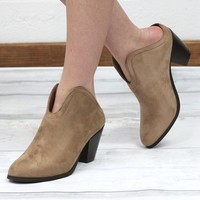Slip On Suede Mule Bootie {Taupe} - Size 5.5