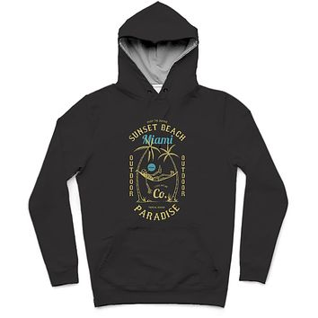 Sunset Beach Miami Trendy All-Over Print Solid Night Rider Hoodie