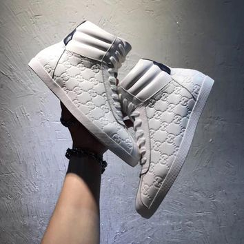 Gucci Men's GG Guccissima Leather High Top Fashion Casual Sneakers Shoes