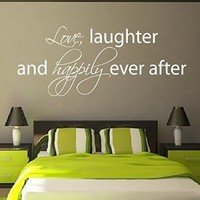 Wall Decals Vinyl Decal Sticker Wording Quote Love Laughter and Happily Ever After Bedroom Decor Living Room Beauty Salon Home Interior Design Kg870
