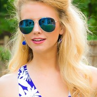 Beach Front Aviator Sunglasses-Blue