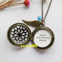 Sister Necklace Angel's Wing Sisters Photo Locket Necklace Bestfriends BFF Gift Sister Gift Sisters make the best friends