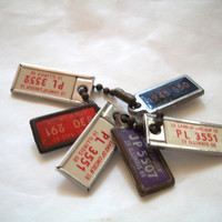 Vintage 6 Mini License Plate Charms With Chain For Illinois 1950s-1960s DAV 1 inch long  X 1/2 inch Wide Some Wear
