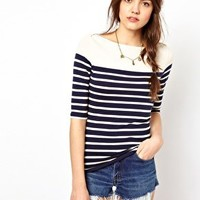 French Connection Stripe Top With 3/4 Length Sleeves at asos.com