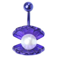14G Purple Shell Pearl Navel Barbell