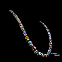 """Glass Bead Necklace From Borneo.NEW BEADS.Traditional Tribal Dayak Currency Trade Bead Designs Bohemian Patterned Dark Beads 14""""L/3.2oz"""