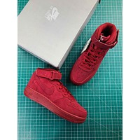 Nike Air Force 1 Mid Af1 07 Red Suede Sport Shoes