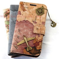Vintage World Map for Samsung Galaxy S2 S3 S4 case, N7100 Note 2 case, iphone 4 4s case,iphone 5 case, with bronze plane and compass