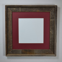Rustic picture frame with dark natural patina 12x12 with mat for 10x10 and smaller prints