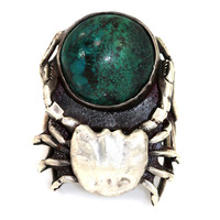 Sterling Silver & Chrysocolla Crab Ring