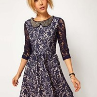 ASOS Skater Dress In Lace With Embellished Collar