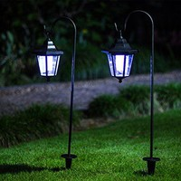 26 Inch Solar Lights Outdoor, Hanging solar Coach Lantern with 2 Shepherd Hooks (2 Pack)