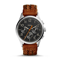 Vintage 54 Chronograph Leather Watch, Brown