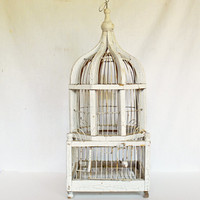 Rustic White Wooden Bird Cage, Vintage Victorian Bird Cage, Shabby Chic Wood and Wire Bird Cage, Chippy Distressed White Paint