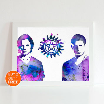 Supernatural watercolor illustration art print, Supernatural art, Supernatural print, superhero art, Supernatural watercolor