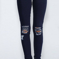 Navy Skinny Jeans With Shredded Rips