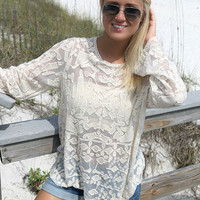 Fraser Island Ivory Lace Long Sleeve Top