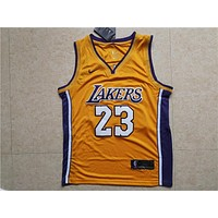 LA Lakers #23 LeBron James Yellow Basketball Jersey
