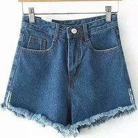 Blue High Waist Pockets Fringed Denim Shorts