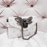 Gucci Trending Women Retro Personality Leather Pearl Bee Metal Chain Single Shoulder Bag Crossbody Satchel White I