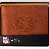San Francisco SF 49ers Embossed Leather Billfold Wallet NEW in Gift Tin