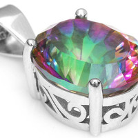 2.5ct Mystic Fire Topaz Round Fashion Pendant For Women – With Genuine 925 Sterling Silver