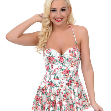 Vintage 1950s Style Pin-Up Cream & Pink Floral Fit N Flare Bandeau One Piece Swimsuit