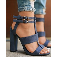 Women Suede Buckle Rough Heel Sandals Hollow Heels Shoes