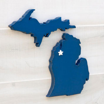 Michigan shape sign wood cutout wall art with heart or star 35 Colors. Wedding Guestbook Anniversary Rustic Country Cottage Chic Decor