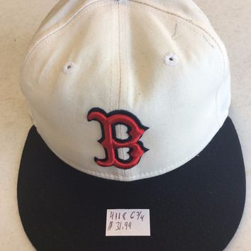 NEW ERA 5950 BOSTON RED SOX WHITE W/ RED B & BLUE BRIM FITTED HAT (DISCOUNTED)