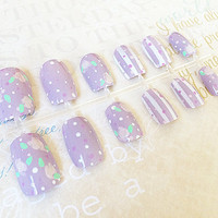 Fake Nails - Vintage Light Purple Nail Set - Princess Floral Nails - Polka Dots Rose Nail Art - Reusable False Nails - Medium Long Nail Tips
