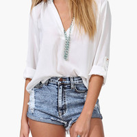 White V Neck Chiffon Blouse With Rolled Half Sleeve - Choies.com