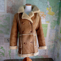 Vintage Shearling Sheepskin Leather Suede Womens Coat  11/12~ Estimate Womens size 8/10