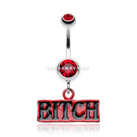 'BITCH' Engraved Belly Ring (Red)