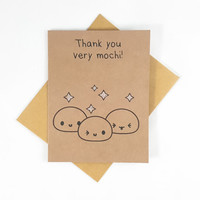 Thank You Card, Mochi, Funny Card, Funny Greeting Card, Greeting Cards, Pun Card, Cute Card, kawaii