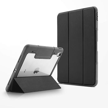 Tough On iPad 8th Gen 10.2 inch Case Smart Cover Black with Clear Back