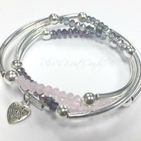 Beaded Bracelet, Bar Bracelet, Crystal, Beaded Bracelet, Stretch, Bracelet Stack,Silver Bracelet,Bangles, Handmade, Custom, Beaded Jewelry
