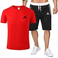 Adidas New fashion letter print top and shorts two piece suit men Red