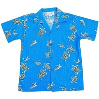 turtle swim blue boy hawaiian shirt