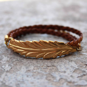 Vintage Leaf Genuine Braided Greek Leather Wrap Bracelet