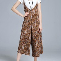 Casual Spaghetti Strap Paisley Printed Wide-Leg Jumpsuit