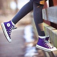 Converse Fashion Canvas Flats Sneakers Sport Shoes High tops Purple