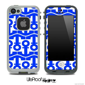 White and Royal Blue Anchor Collage Skin for the iPhone 5 or 4/4s LifeProof Case