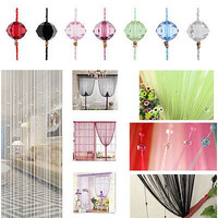 New Fringe Crystal Beads String Curtain 1*2m Tassel Door Window Room Valance EW