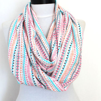 white tribal scarf,scarf,infinity scarf, scarf, scarves, long scarf, loop scarf, gift