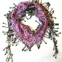 pink scarf,lace scarf,scarf,gift,boho scarf