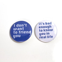 Facebook Button Set of 2 Snarky Fun