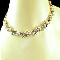 Cut Out Leaves Necklace with White Pearl Berries Gold Tone Signed Coro